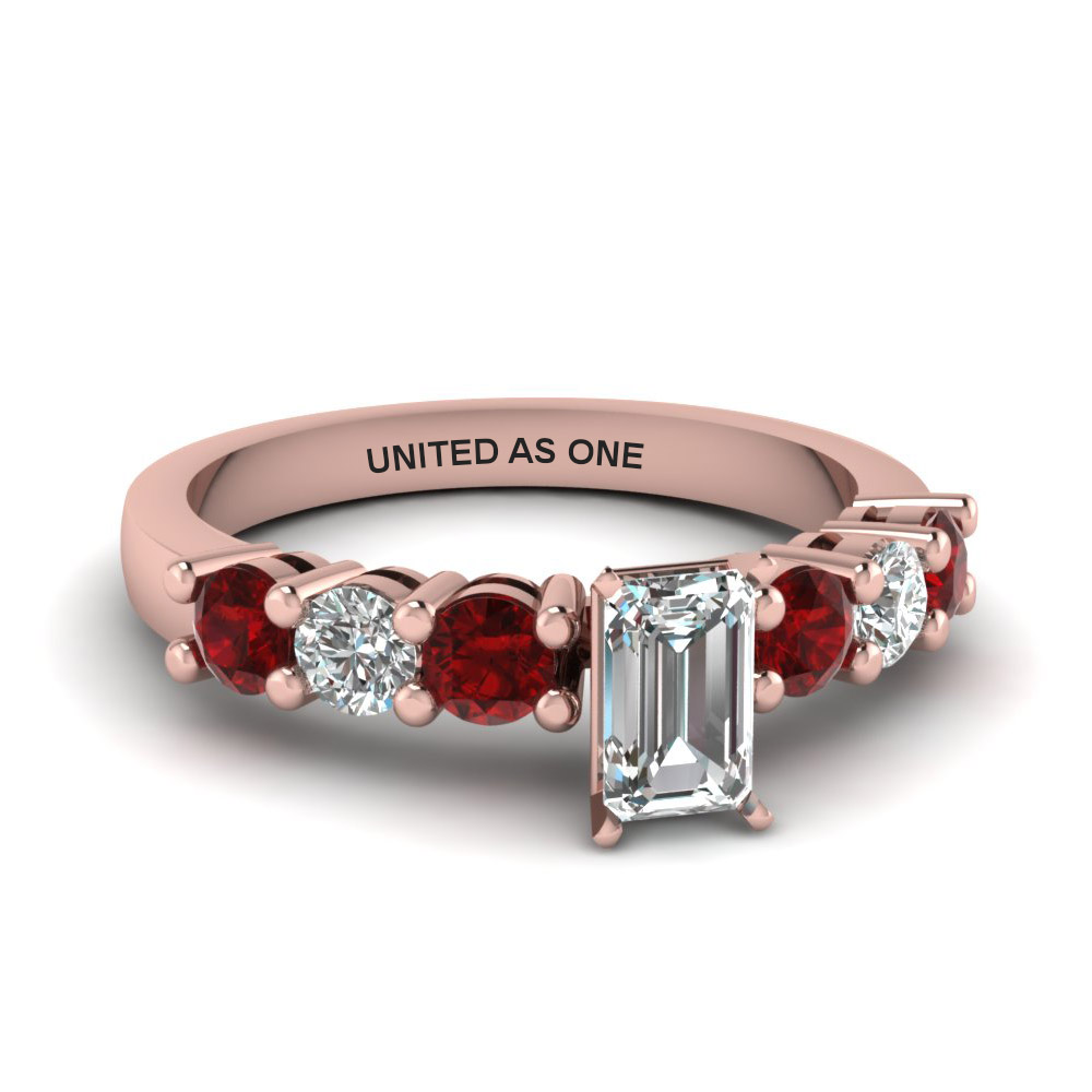 emerald cut diamond engraved basket prong 7 stone engagement ring with red ruby in 14K rose gold FDENS141EMRGRUDR NL RG EG