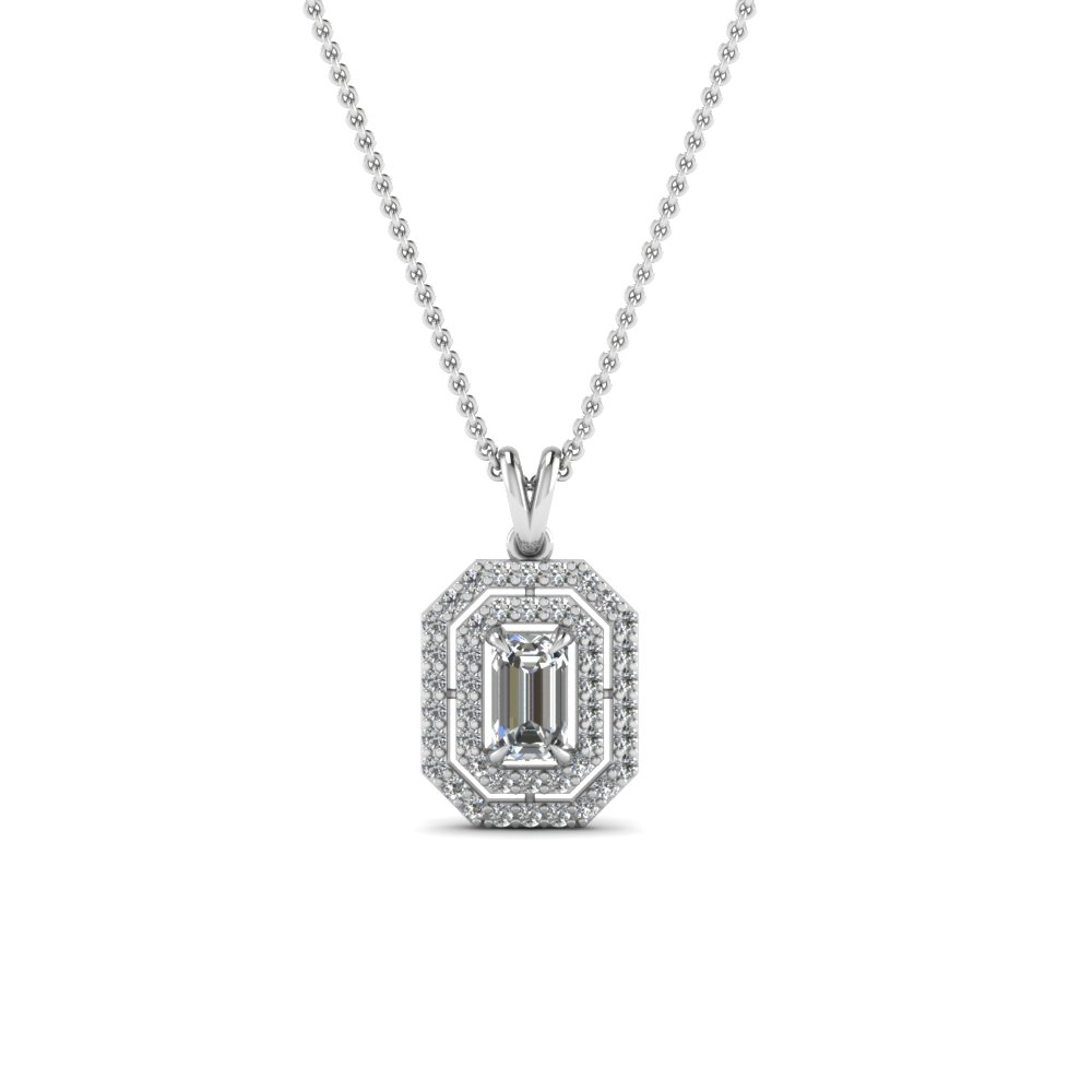 Pick classy fancy pendants online fascinating diamonds emerald cut diamond fancy pendant in 14k white gold fdpd1190em nl wg mozeypictures