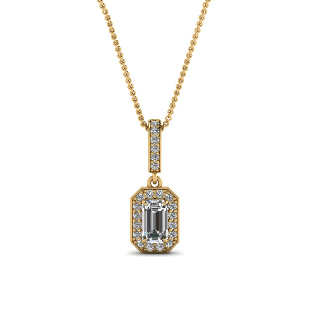 Halo Emerald Cut Diamond Pendant