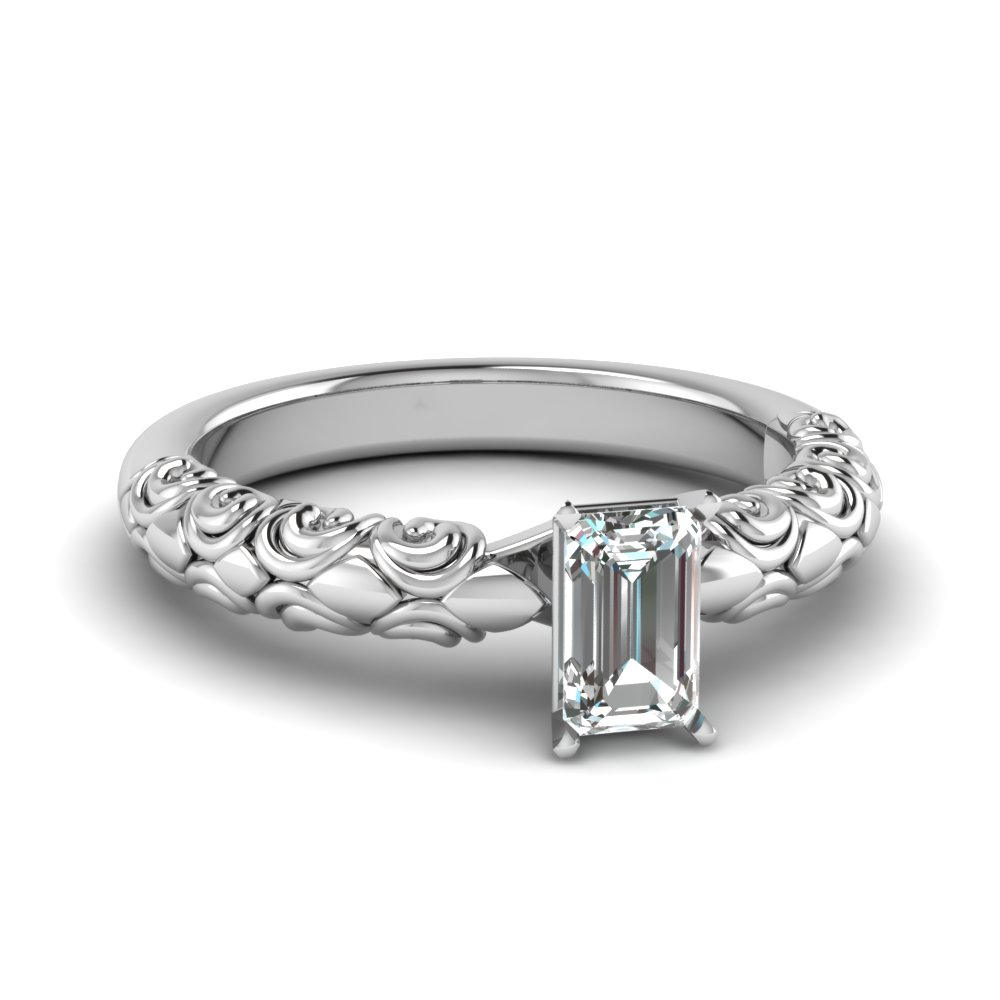 emerald cut diamond filigree accent solitaire engagement ring in FD121974EMR NL WG