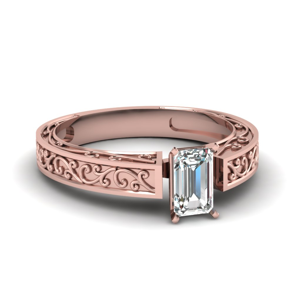 filigree engraved emerald cut solitaire engagement ring in 14k rose