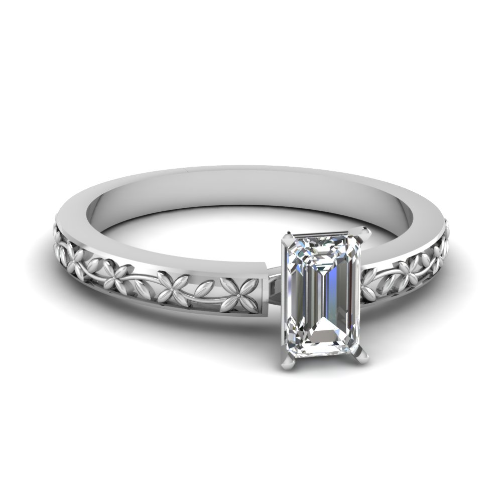 floral engraved emerald cut diamond solitaire engagement ring in FDENS3552EMR NL WG