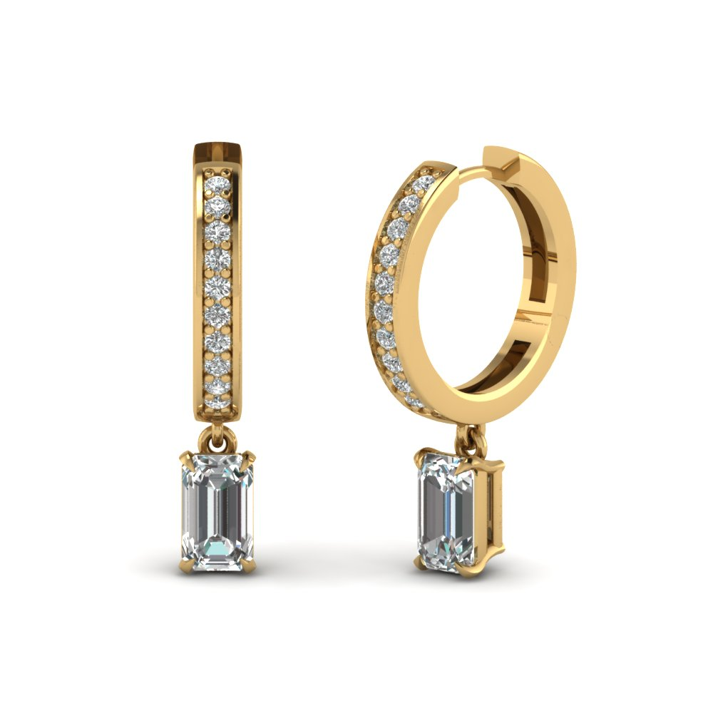 Emerald Cut Hoop Earring