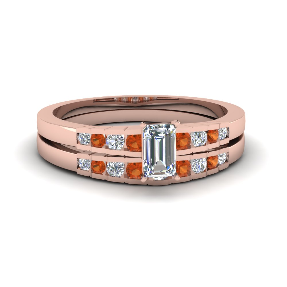emerald cut diamond graduated accent wedding set with orange sapphire in FDENS3116EMGSAOR NL RG