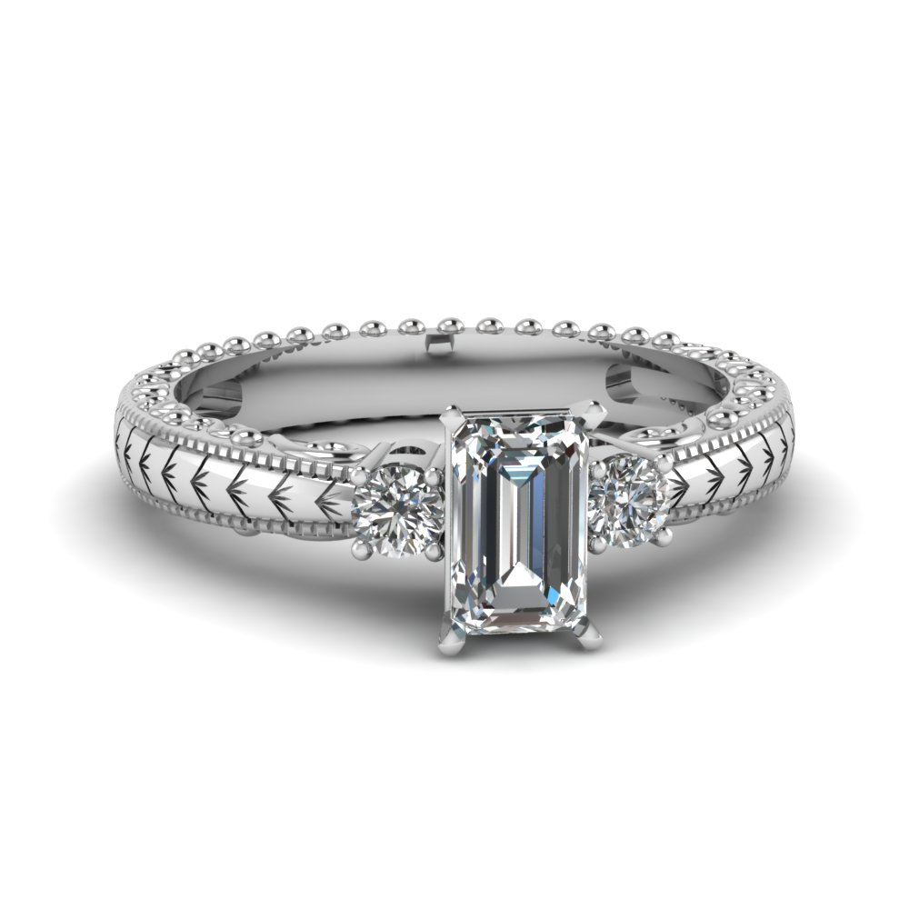 Hand Engraved 3 Stone Emerald Cut Engagement Ring In 14K ... - photo#45