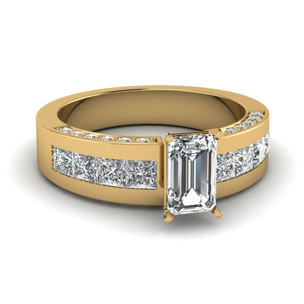 Emerald Cut With Princess Accents Gold Engagement Ring