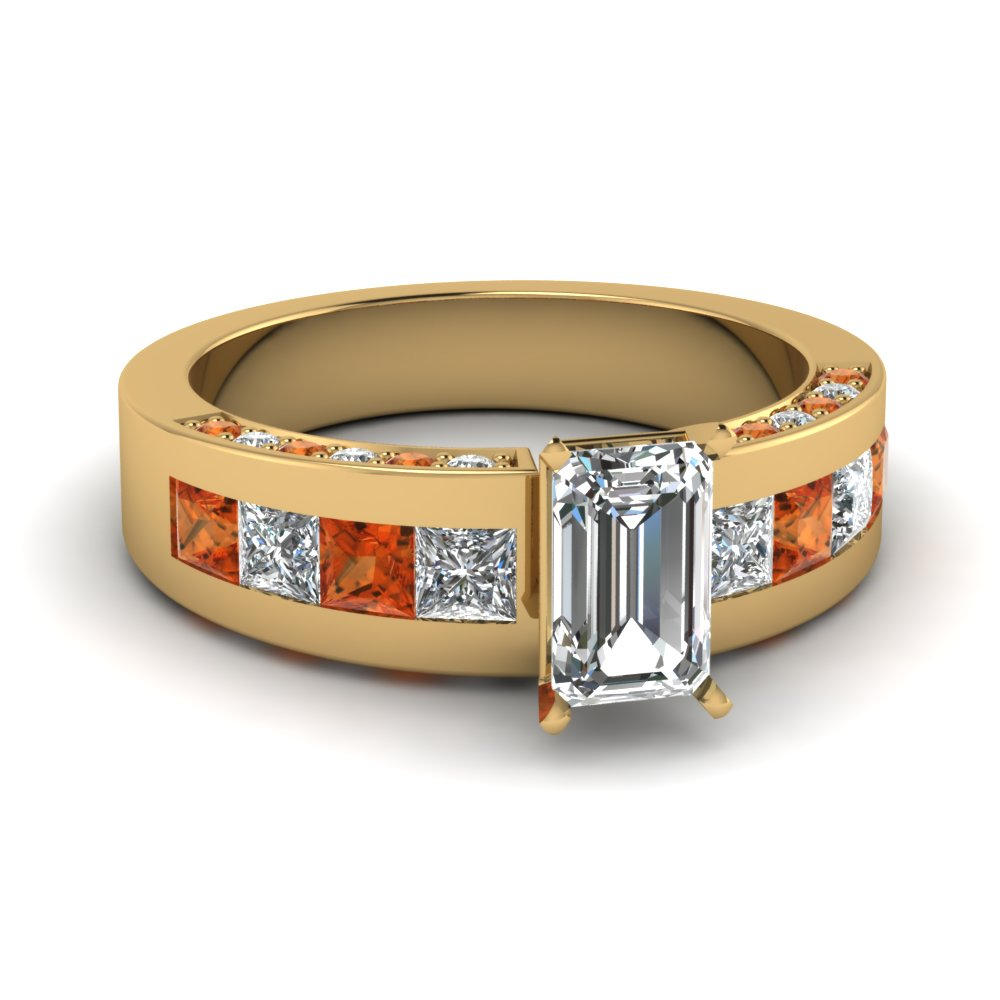 Orange Sapphire Side Stones Emerald Engagement Ring In Yellow Gold