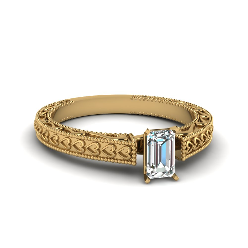 Antique Emerald Cut Solitaire Ring