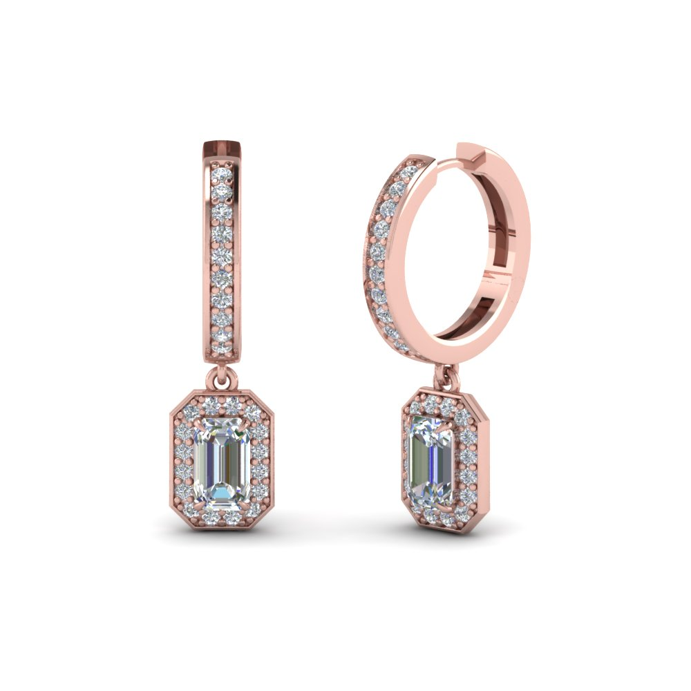 Emerald Cut Diamond Halo Hoop Earrings