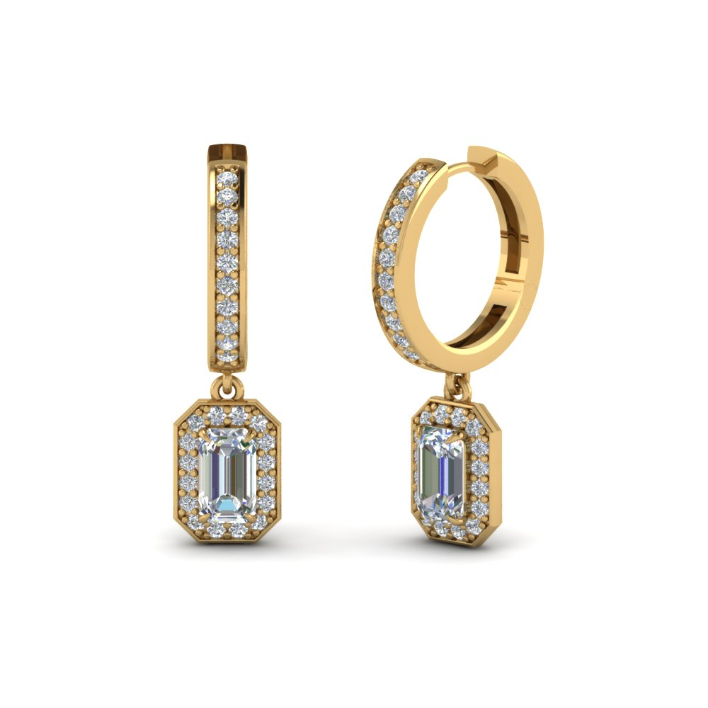 emerald cut halo drop diamond earring in FDEAR1185EM NL YG