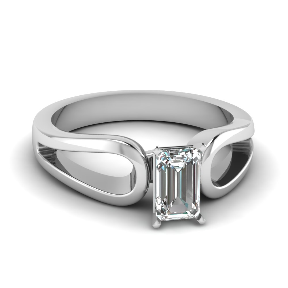 emerald cut diamond loop duet solitaire engagement ring in FD1149EMR NL WG