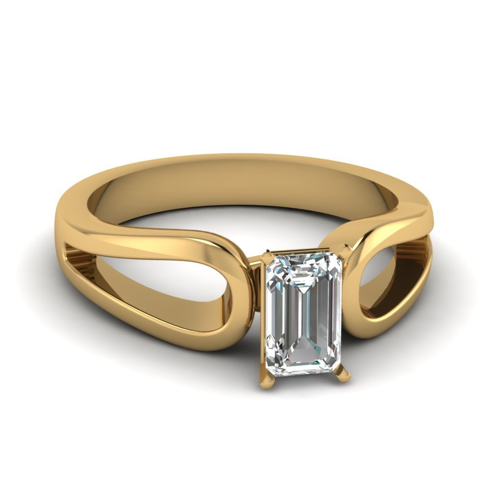 emerald cut diamond loop duet solitaire ring in 14K yellow gold FD1149EMR NL YG