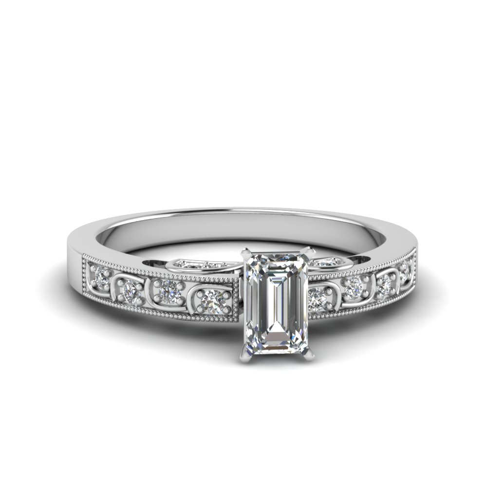 emerald cut diamond milgrain engagement ring in FD62292EMR NL WG