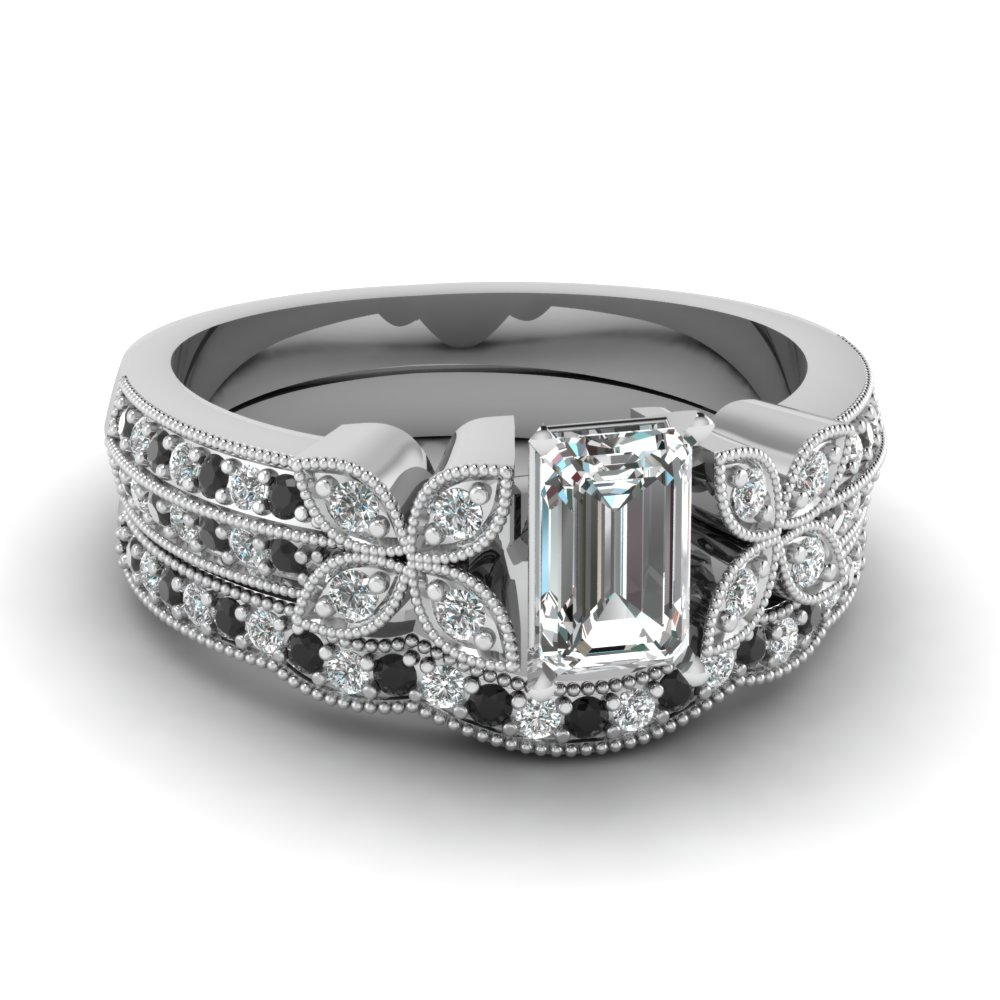 emerald-cut-diamond-milgrain-petal-wedding-set-with-black-diamond-in-14K-white-gold-FDENS3308EMGBLACK-NL-WG