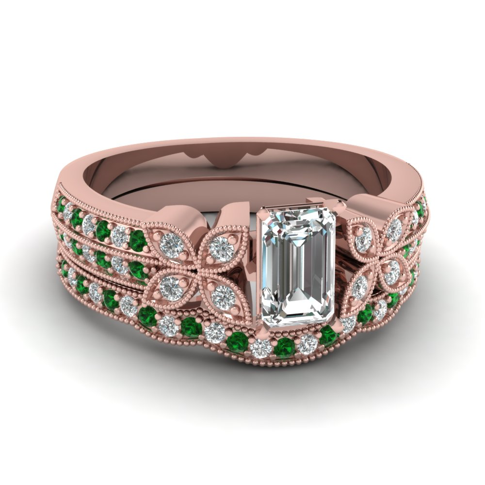 milgrain petal emerald cut diamond wedding ring set with emerald in FDENS3308EMGEMGR NL RG