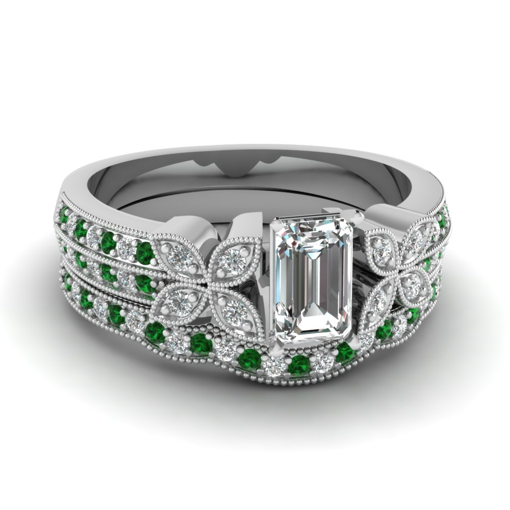 emerald-cut-diamond-milgrain-petal-wedding-set-with-green-emerald-in-18K-white-gold-FDENS3308EMGEMGR-NL-WG