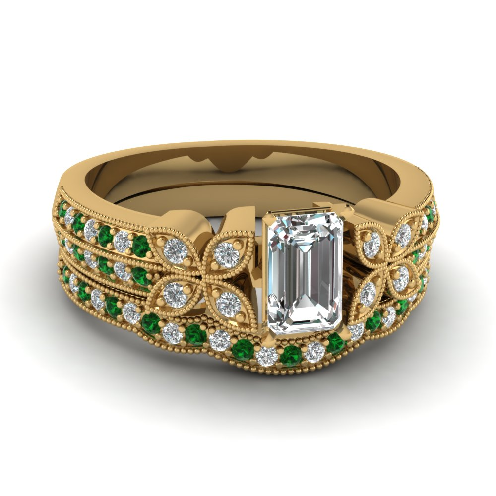 emerald-cut-diamond-milgrain-petal-wedding-set-with-green-emerald-in-18K-yellow-gold-FDENS3308EMGEMGR-NL-YG
