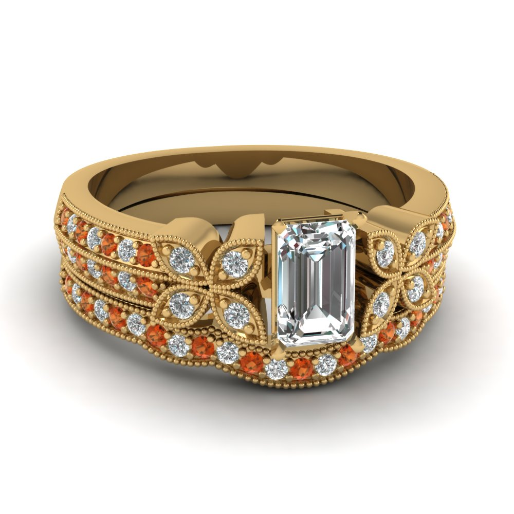 emerald-cut-diamond-milgrain-petal-wedding-set-with-orange-sapphire-in-14K-yellow-gold-FDENS3308EMGSAOR-NL-YG