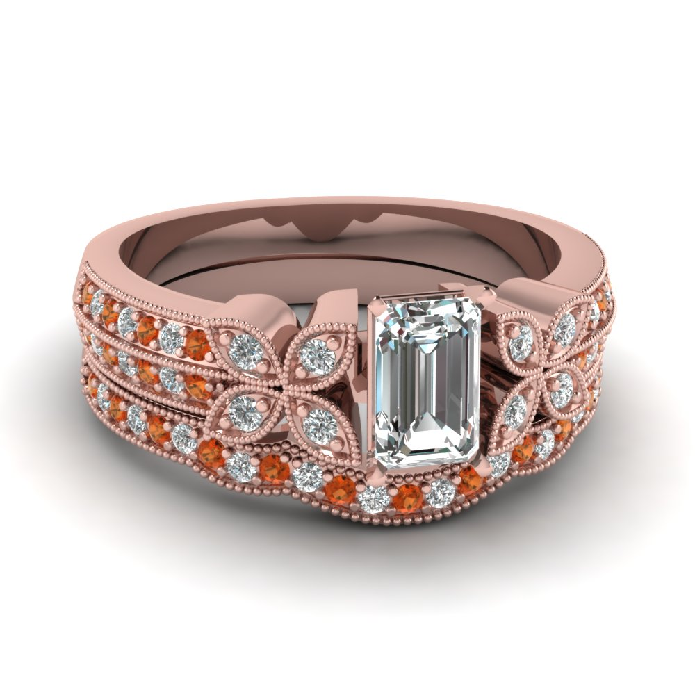emerald-cut-diamond-milgrain-petal-wedding-set-with-orange-sapphire-in-18K-rose-gold-FDENS3308EMGSAOR-NL-RG