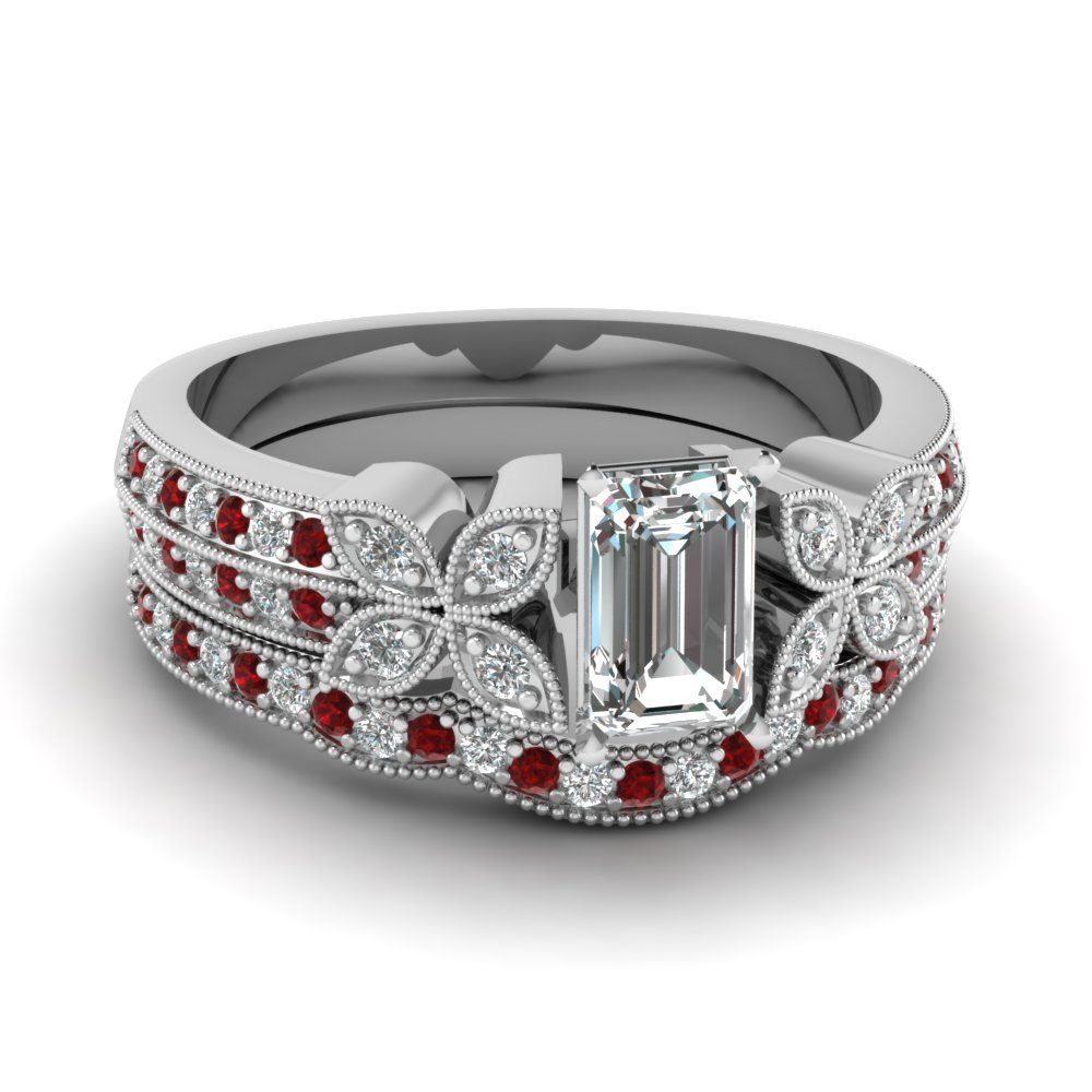 emerald-cut-diamond-milgrain-petal-wedding-set-with-red-ruby-in-14K-white-gold-FDENS3308EMGRUDR-NL-WG