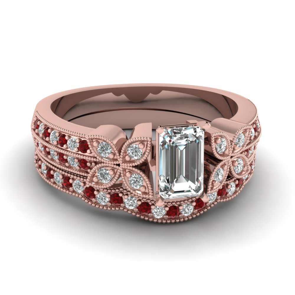 emerald-cut-diamond-milgrain-petal-wedding-set-with-red-ruby-in-18K-rose-gold-FDENS3308EMGRUDR-NL-RG