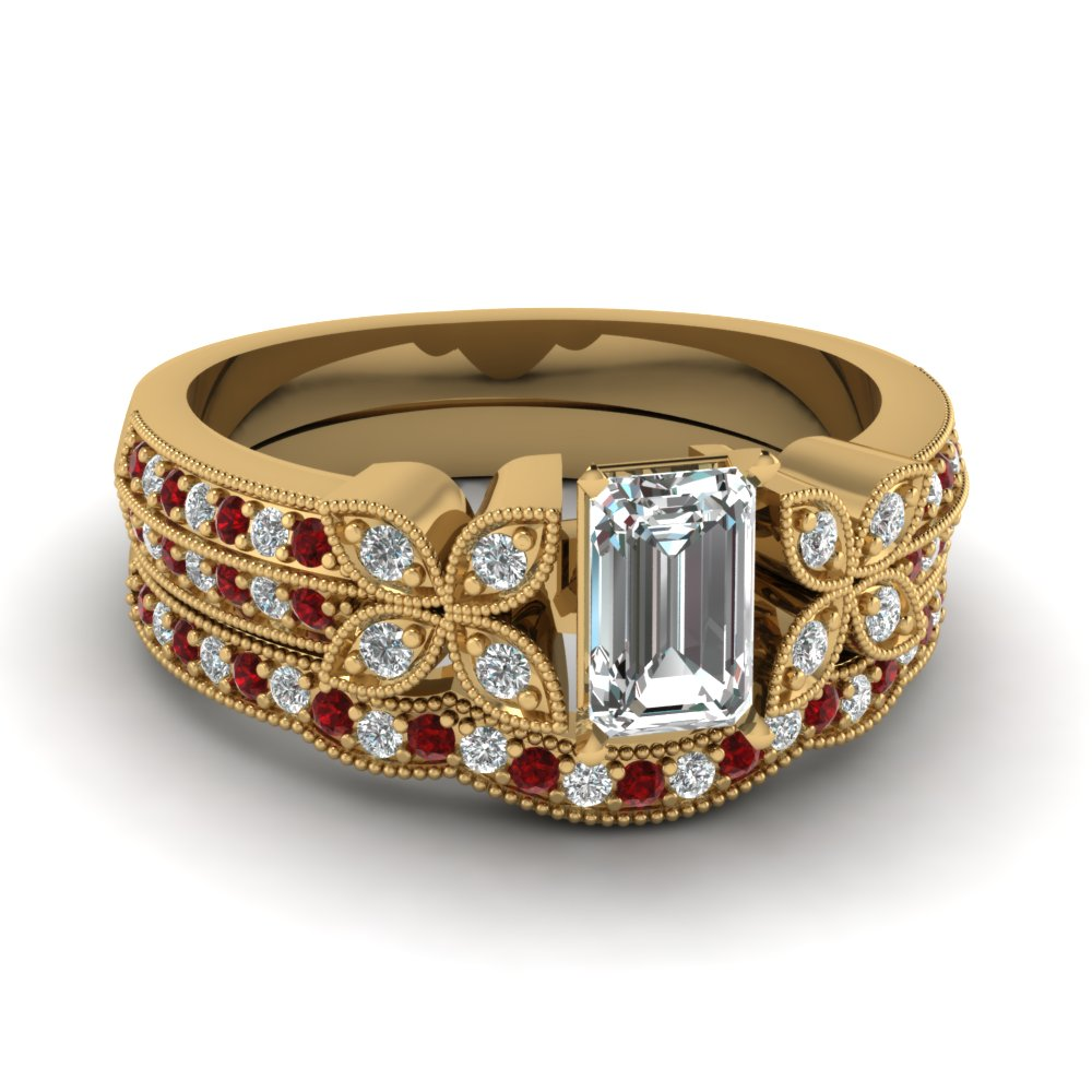 emerald-cut-diamond-milgrain-petal-wedding-set-with-red-ruby-in-18K-yellow-gold-FDENS3308EMGRUDR-NL-YG