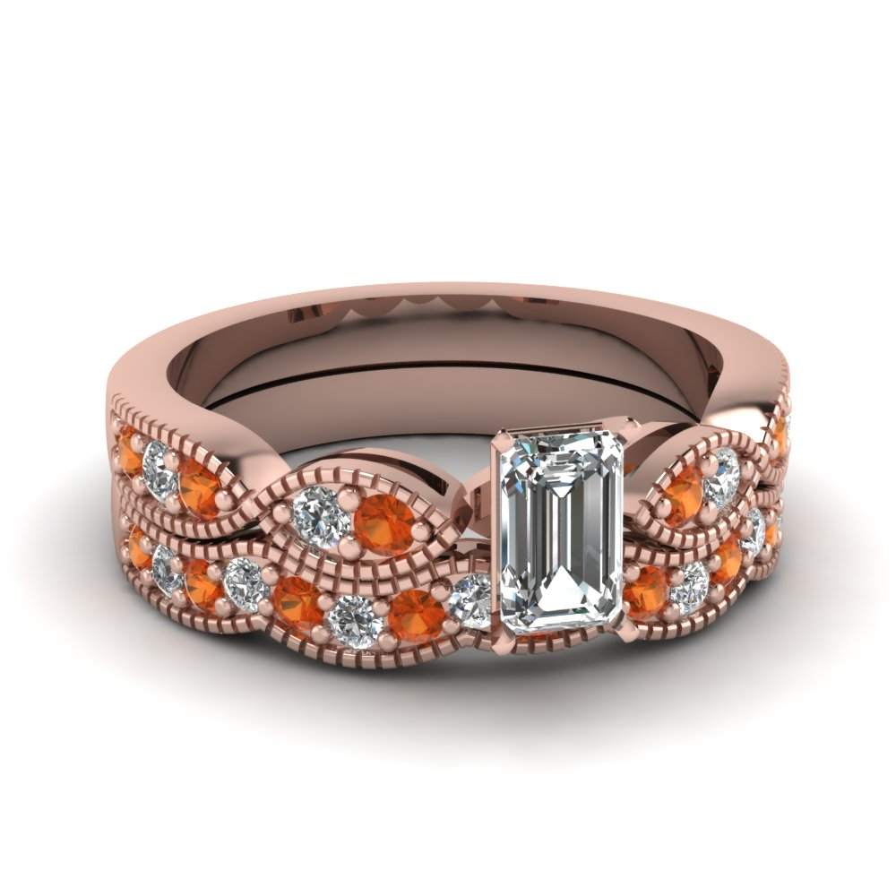 emerald cut diamond milgrain weave wedding set with orange sapphire in 18K rose gold FDENS3053EMGSAOR NL RG