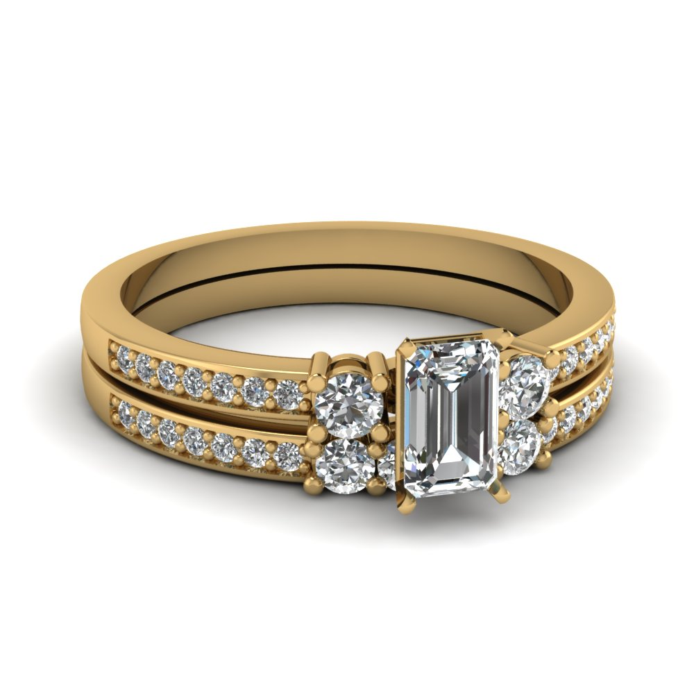 Emerald Cut Gold Bridal Set