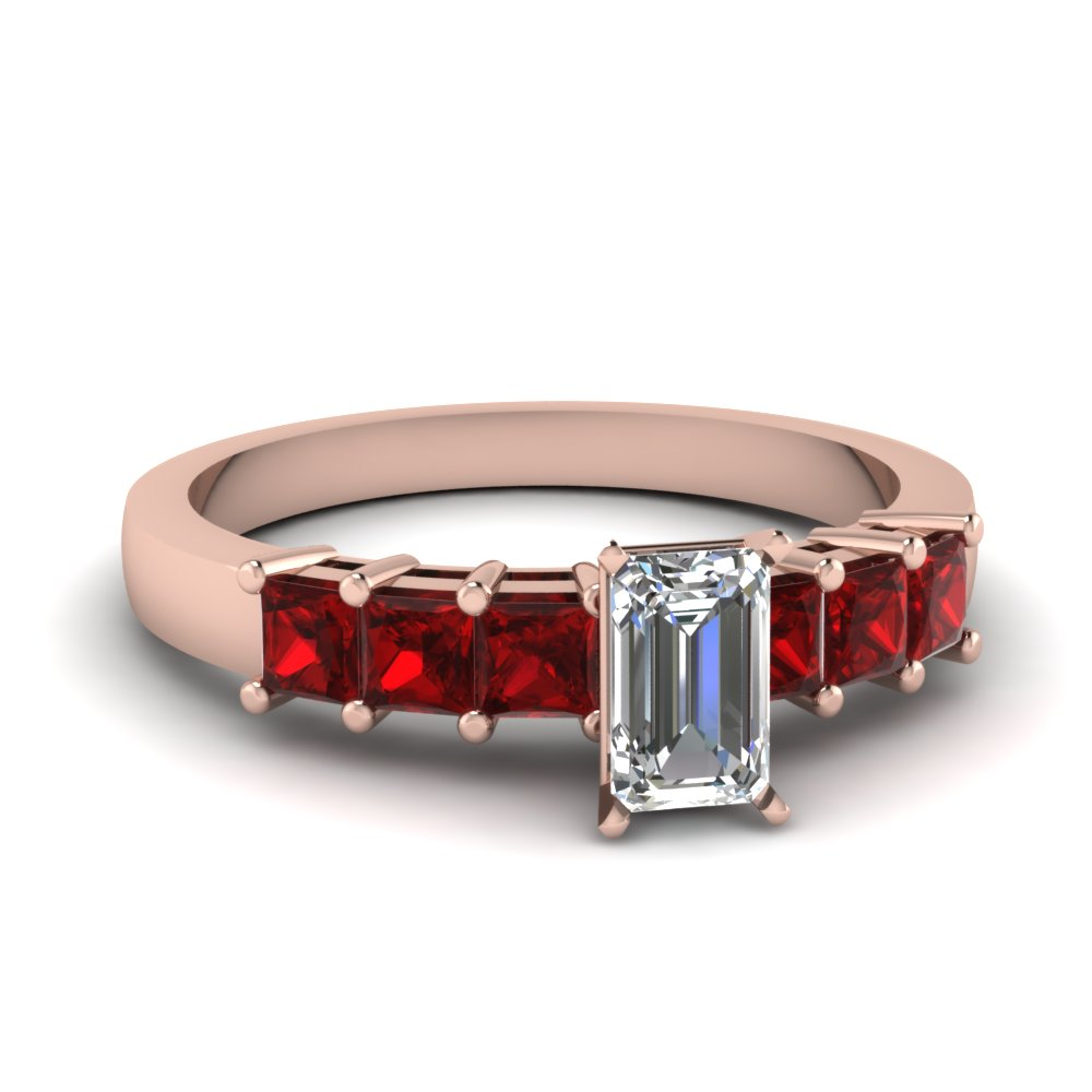 7 Stone Princess Cut Ruby Ring