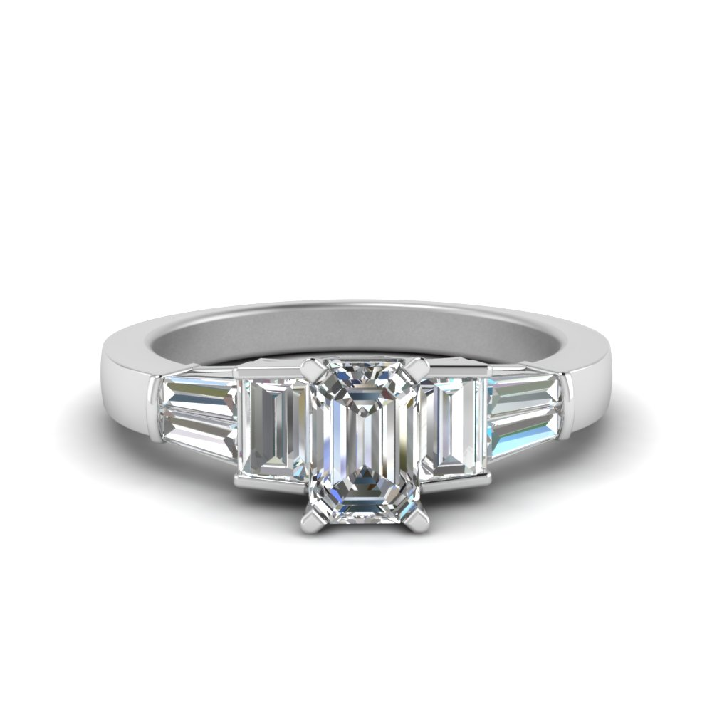 emerald cut diamond ring with baguettes in 14K white gold FDENR2708EMR NL WG