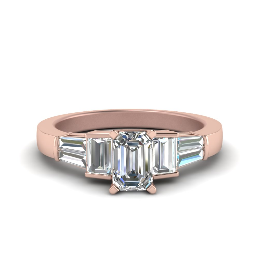 emerald cut lab diamond ring with baguettes in 18K rose gold FDENR2708EMR NL RG
