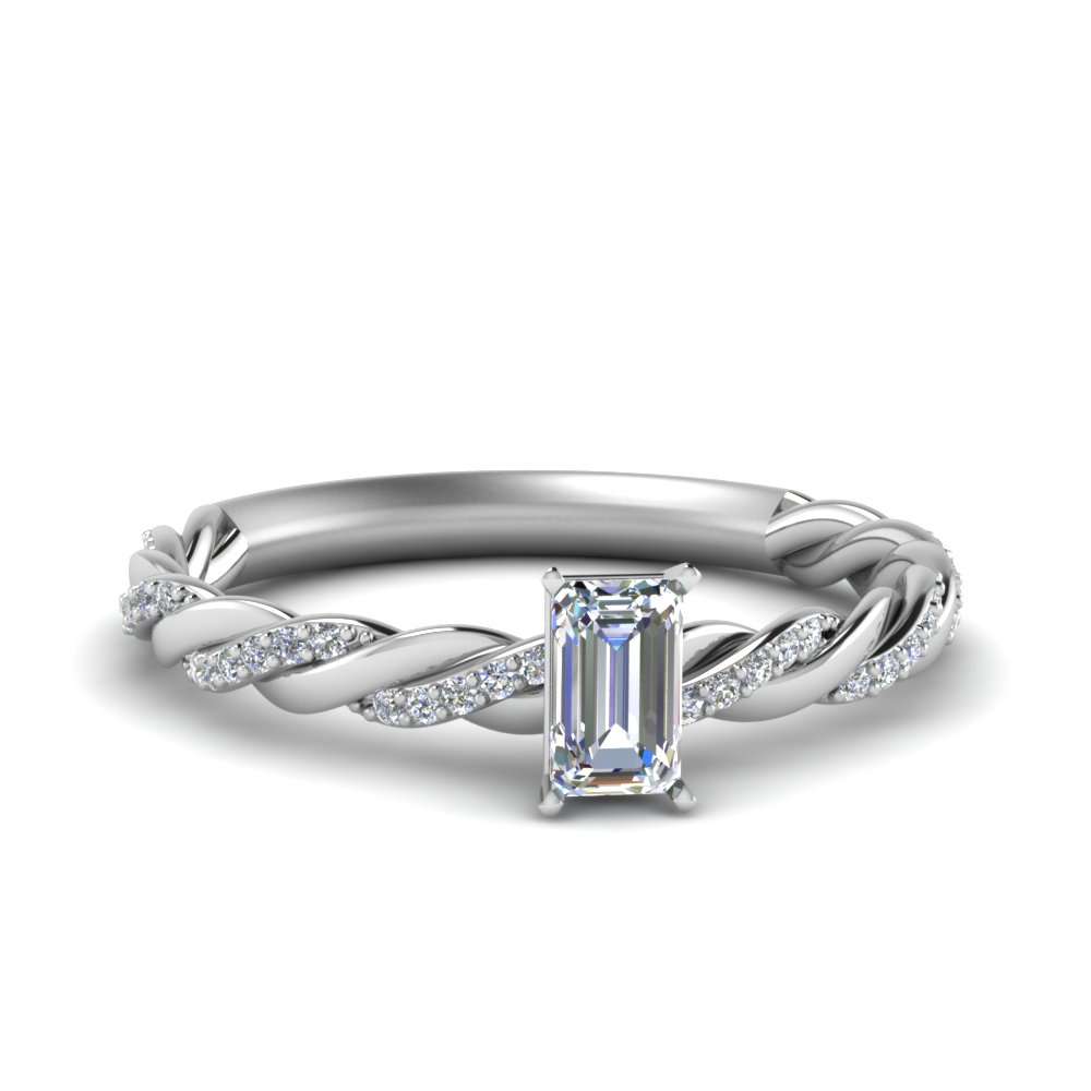 twisted vine emerald cut diamond engagement ring for women in FD122673EMR NL WG