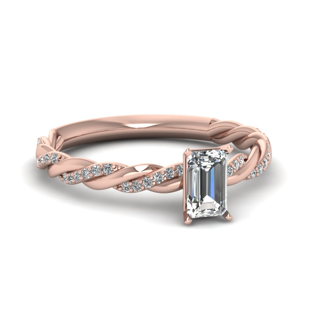 Braided Twist Engagement Ring Pink Gold