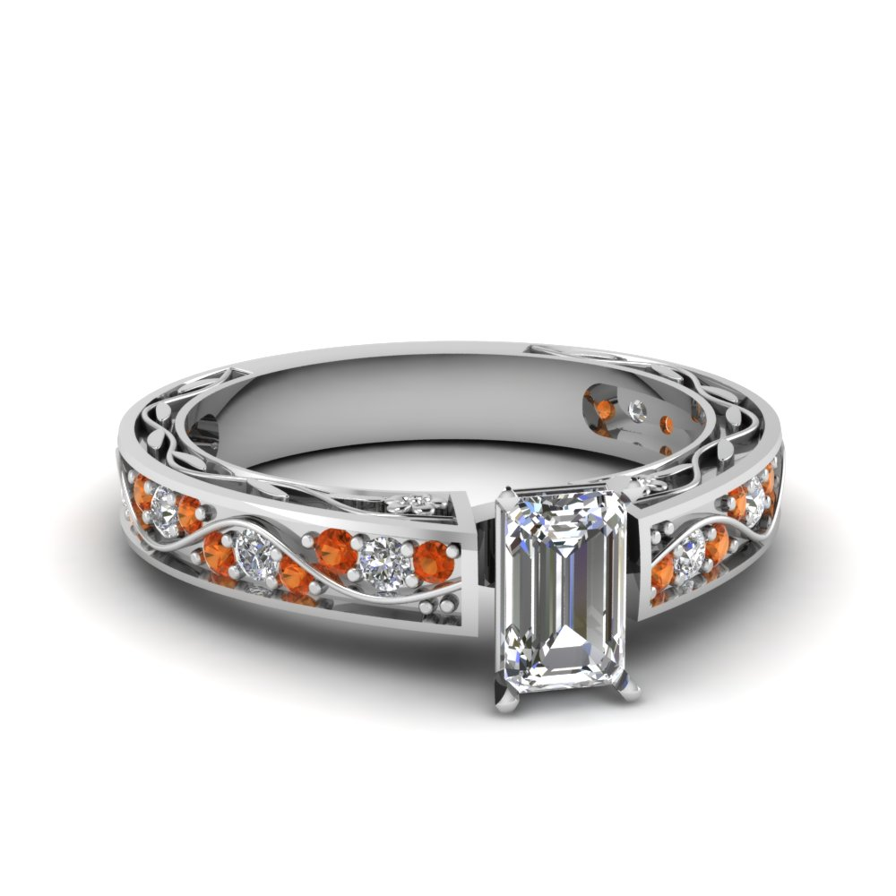 Emerald Cut Diamond with Orange Sapphire Engagement Ring