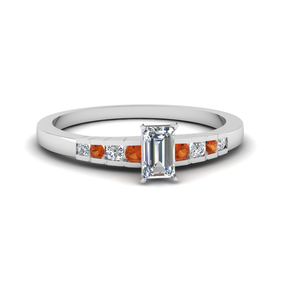 Orange Sapphire White Gold Ring