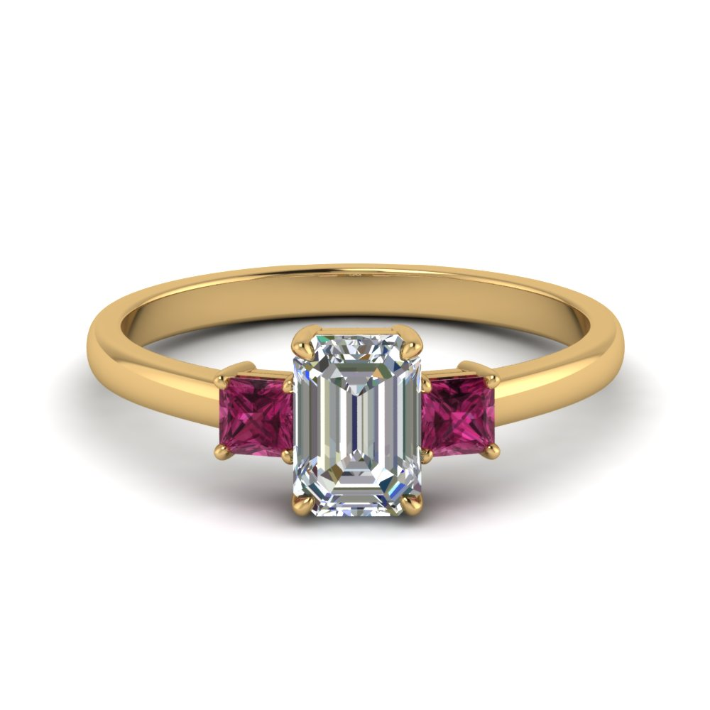 3 stone emerald cut engagement ring with pink sapphire in 14K yellow gold FDENS3107EMRGSADRPI NL YG