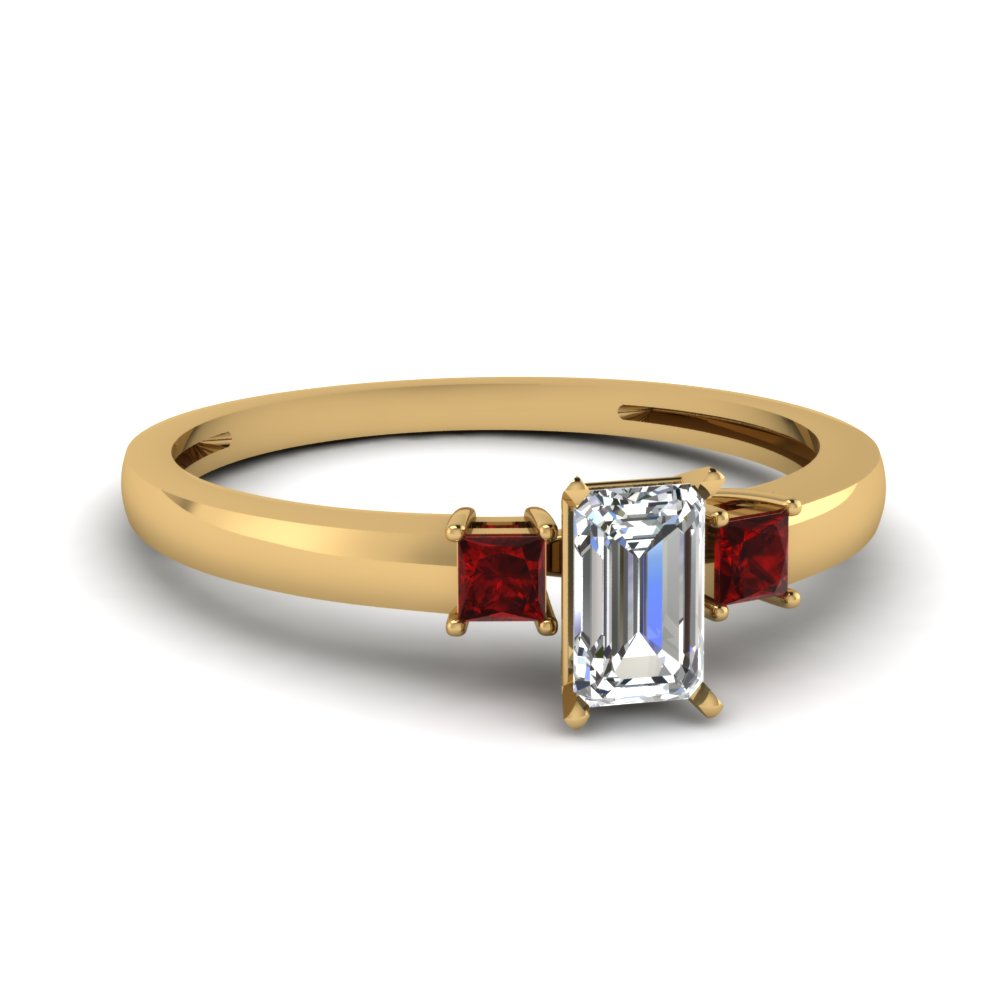 3 stone emerald cut engagement ring with ruby in 14K yellow gold FDENS3107EMRGRUDR NL YG