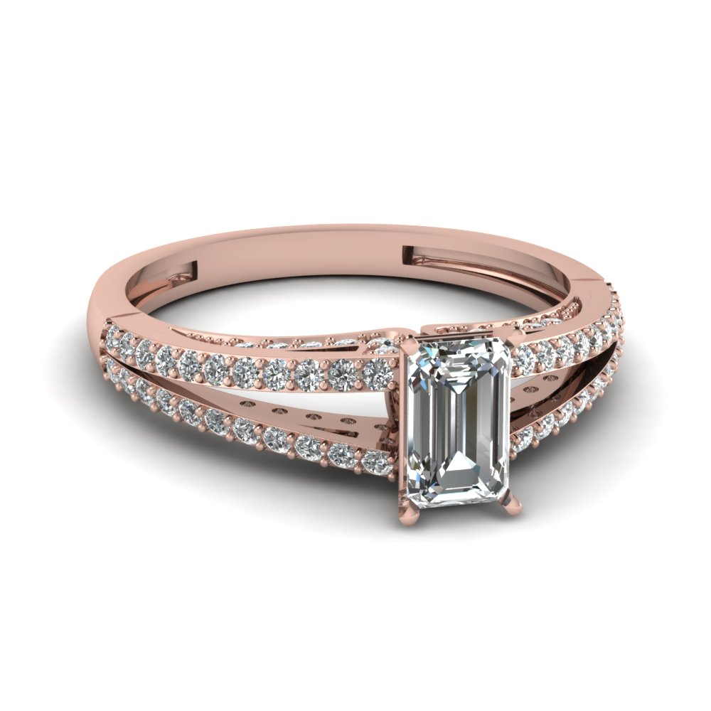 emerald cut diamond slender split side stone engagement ring in 14K rose gold FDENS3131EMR NL RG