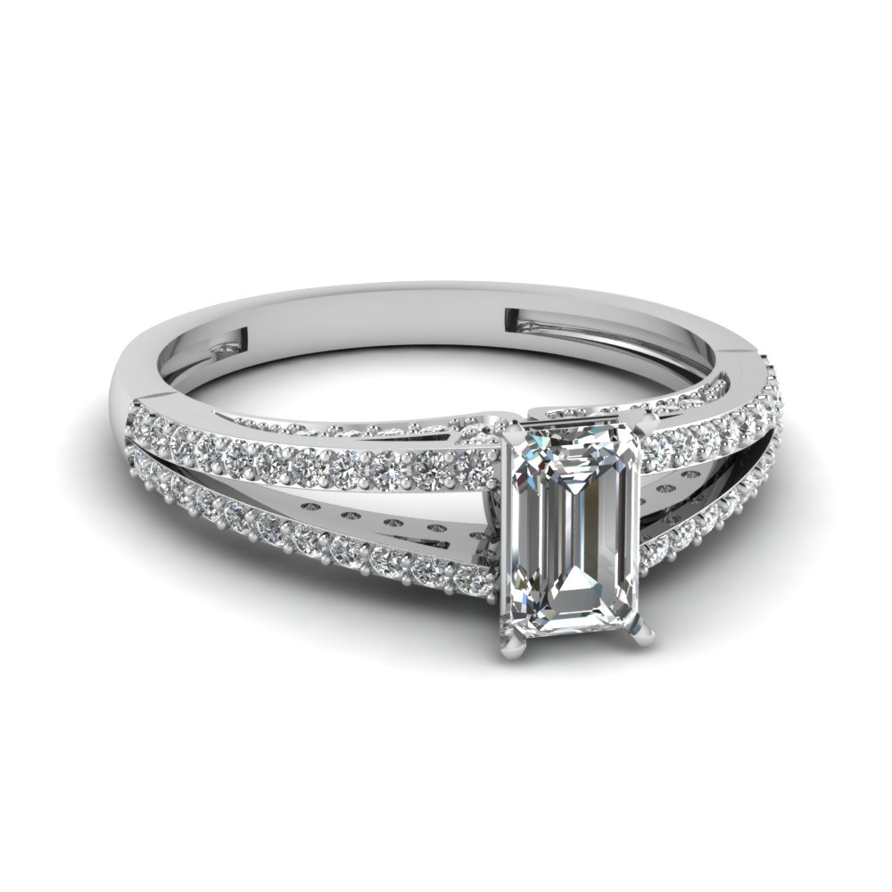 Split 18k White Gold Side Stone Engagement Ring