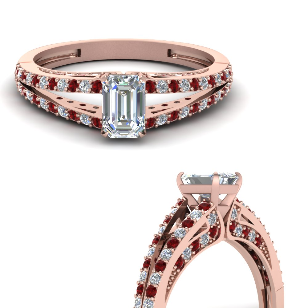 split emerald cut diamond engagement ring with ruby in FDENS3131EMRGRUDRANGLE3 NL RG