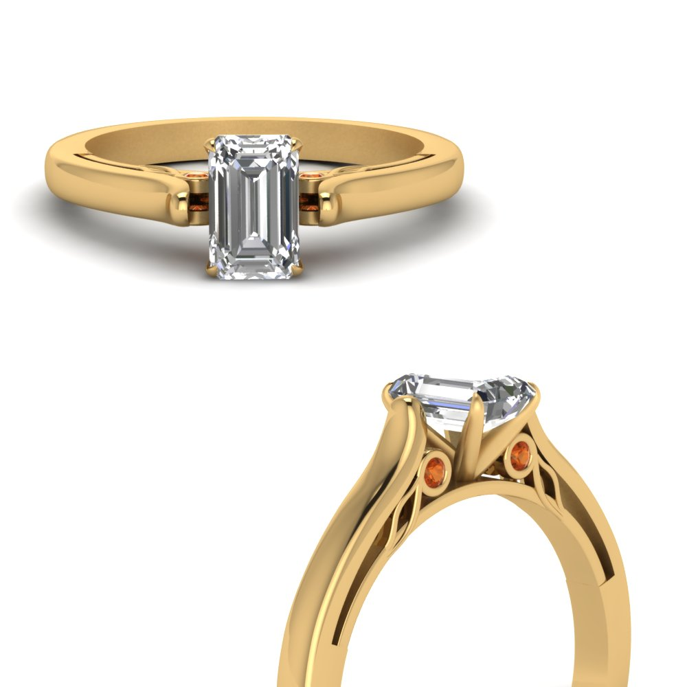 emerald cut cathedral diamond engagement ring with orange sapphire in FDENS2000EMRGSAORANGLE3 NL YG.jpg