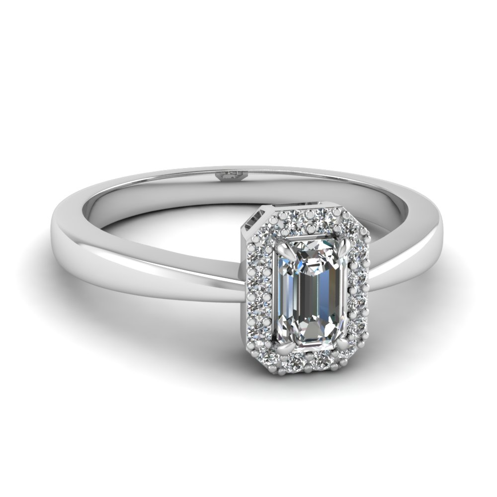 delicate emerald cut halo diamond engagement ring in FD1178EMR NL WG