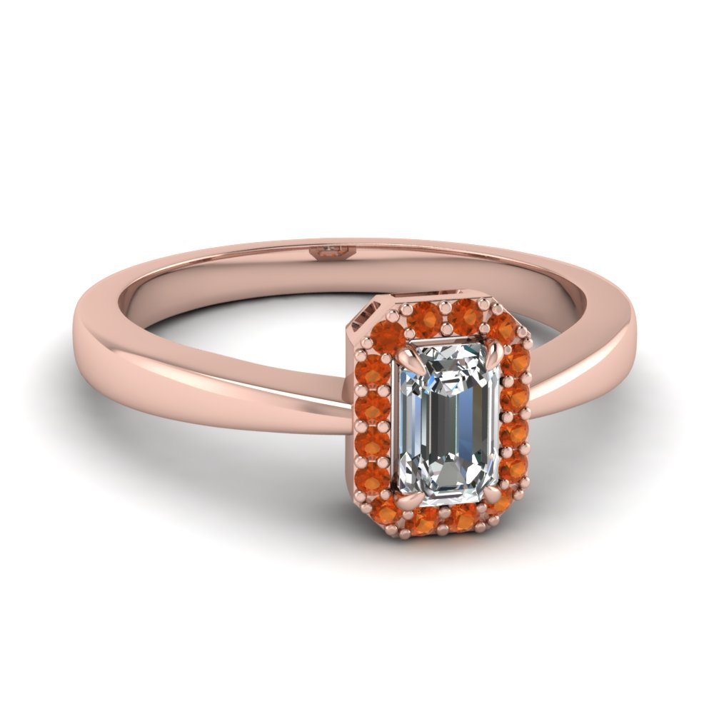 Emerald Cut Orange Sapphire Halo Engagement Rings