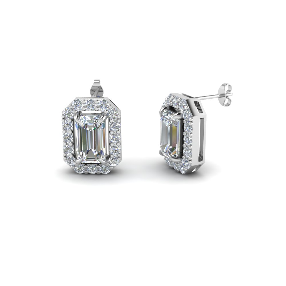 Emerald Cut Diamond Stud Earrings In 14k White Gold Fdear1186em Nl Wg