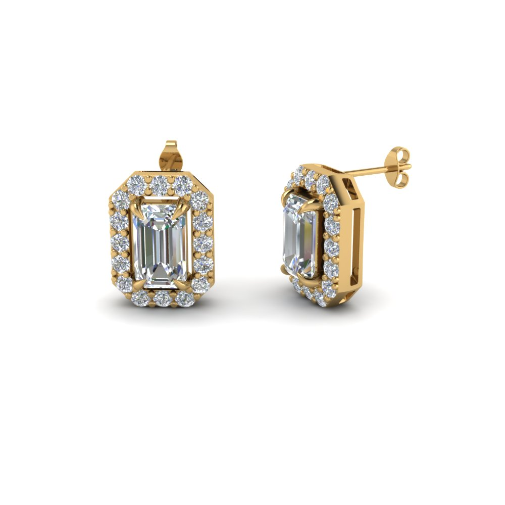 emerald cut diamond stud earrings in 14K yellow gold FDEAR1186EM NL YG