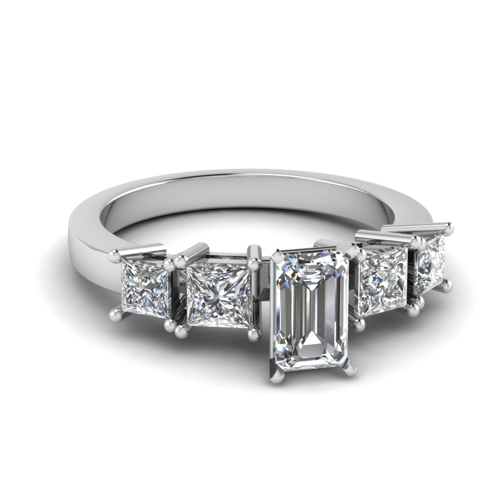 basket emerald cut 5 stone engagement ring in FDENR1012EMR NL WG