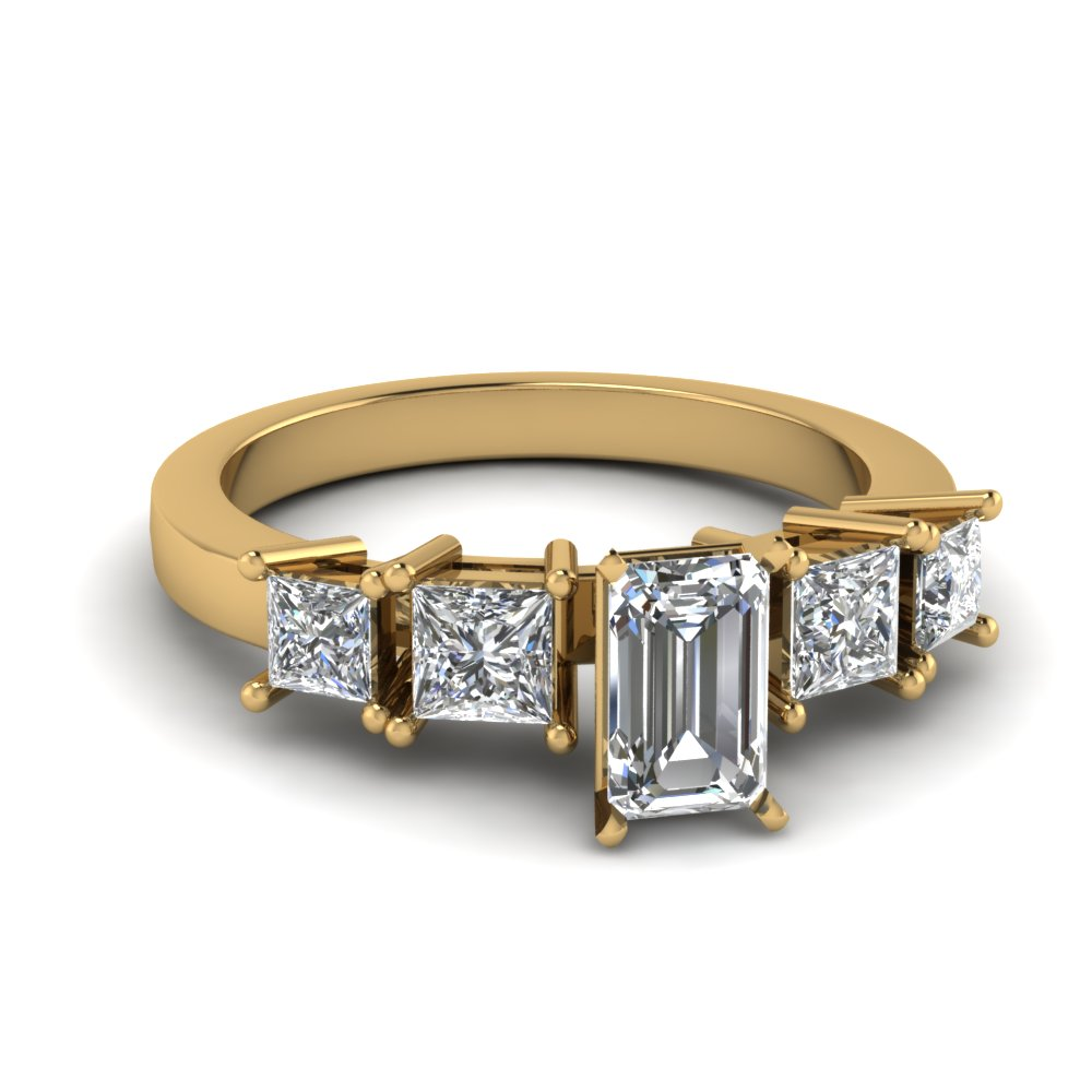 Emerald Cut Diamond Ring With 4 Prong Princess Accents