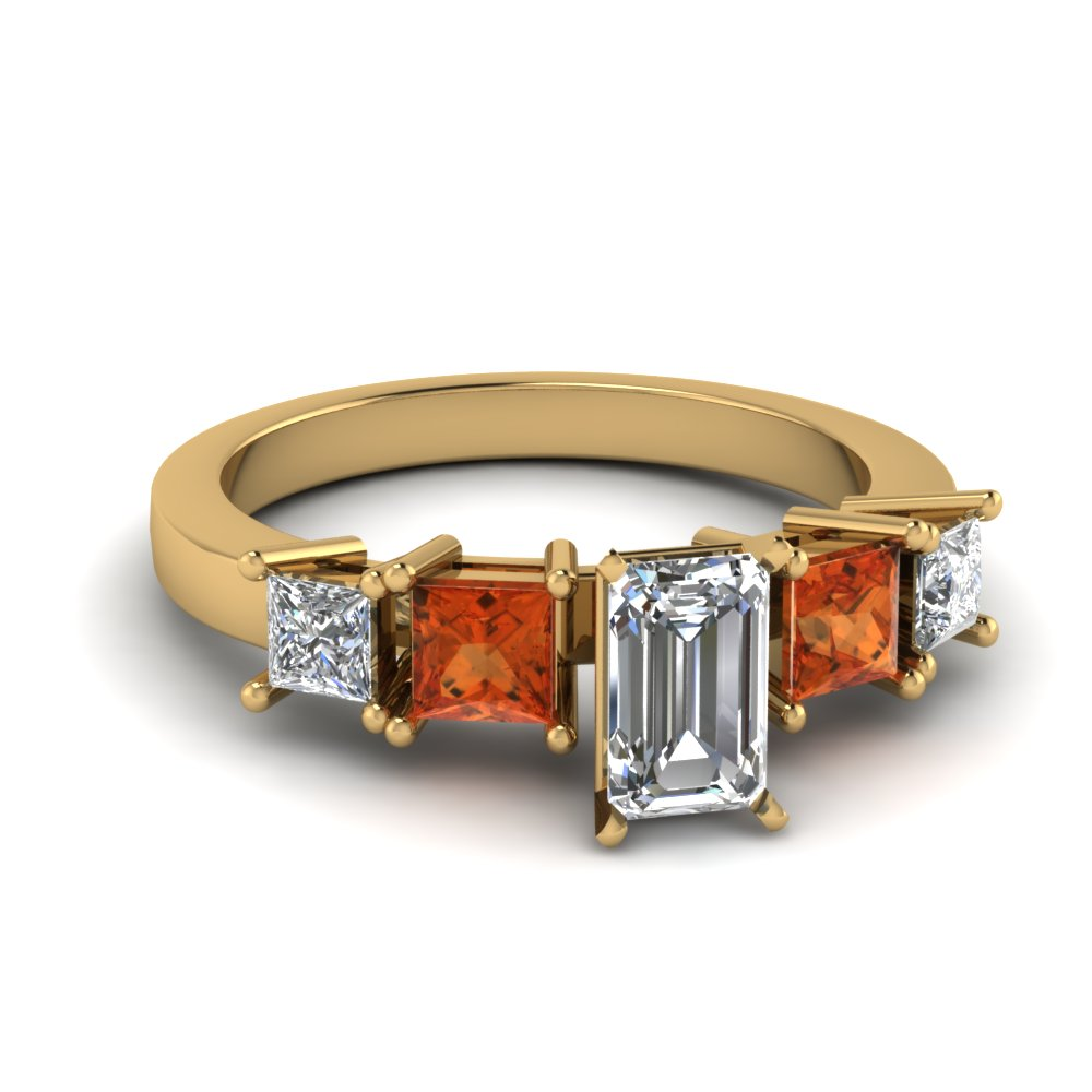 Orange Sapphire Emerald Cut gold Accents Engagement Ring