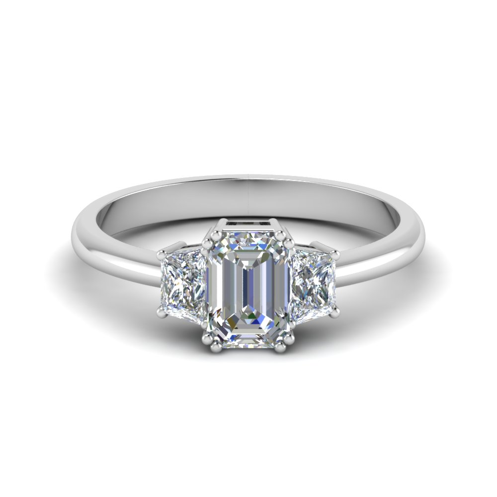 emerald cut diamond trapezoid engagement ring in FDENR7981EMR NL WG
