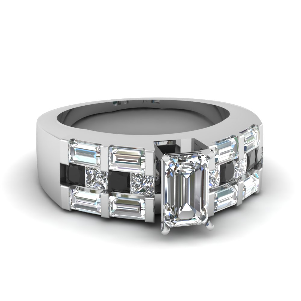 emerald cut triple wide shank engagement ring with black diamond in FDENR1337EMRGBLACK NL WG